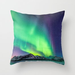 Northern Lights in Iceland Throw Pillow