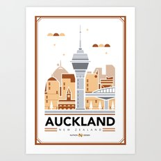 City Illustrations (Auckland, New Zealand) Art Print