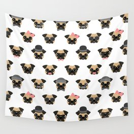 Pugs in Disguise Pattern Wall Tapestry