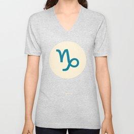 Capricorn Symbol Blue Unisex V-Neck