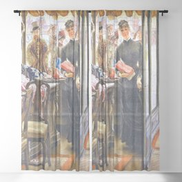 13,000px,600dpi-James Tissot - The store lady - Digital Remastered Edition Sheer Curtain