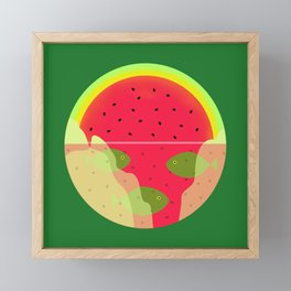 Watermelon Underwater Scene Framed Mini Art Print