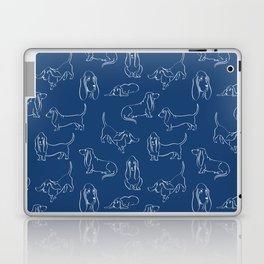 Basset Hounds Pattern on Navy Background Laptop & iPad Skin
