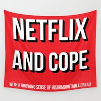 netflix Wall Tapestries featuring Netflix and Cope by Matthew Hadley