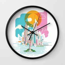 New York City Skyline Graphic Design Wall Clock