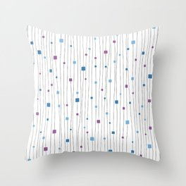 Squares and Vertical Stripes - Cold Colors on White - Hanging Throw Pillow