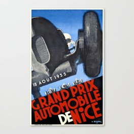 1935 Nice France Automobile Grand Prix Poster Canvas Print
