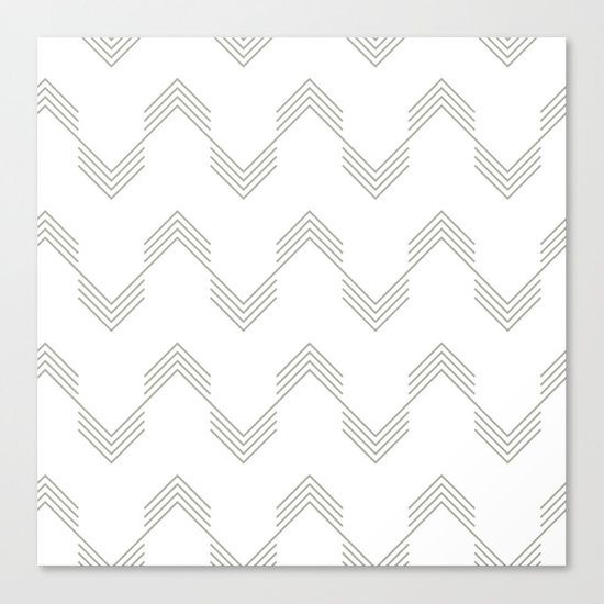 Simply Deconstructed Chevron Retro Gray on White Canvas Print