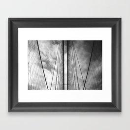 New York - Brooklyn Bridge, Black and White Framed Art Print