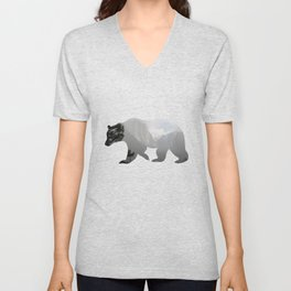 Grizzly Bear with Yosemite Photo Inlay Unisex V-Neck