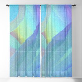 Blue Morning View, Abstract Sheer Curtain