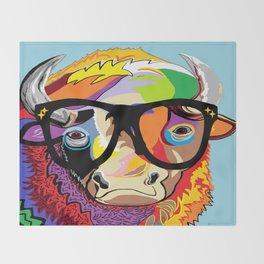 "Hipster Bison ""Buffalo"" Throw Blanket"