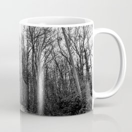 Black and white path in the forest Coffee Mug
