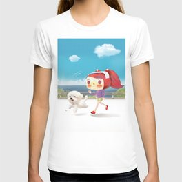 Little girl running with her dog T-shirt