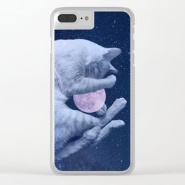 Cuddly Moon Cat Clear iPhone Case