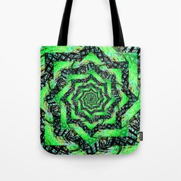 Folding Green Paper into Zigzags Tote Bag