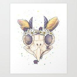 Owl Skull Art Print