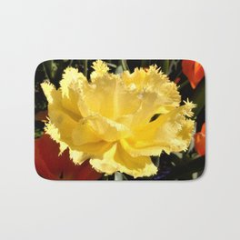 Happy Yellow Tulip Bath Mat