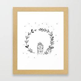 Magical Hedgehog Wreath Framed Art Print