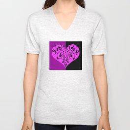 Gothic Victorian Black and Purple Heart Unisex V-Neck
