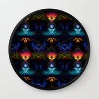 stargate Wall Clocks featuring Stargate Fractal Abstract by BohemianBound