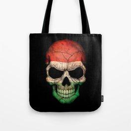 Dark Skull with Flag of Hungary Tote Bag