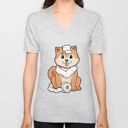 Dog puppy with Roll of Toilet paper Unisex V-Neck