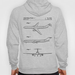 Boeing 777 Airliner Patent - 777 Airplane Art - Black And White Hoody