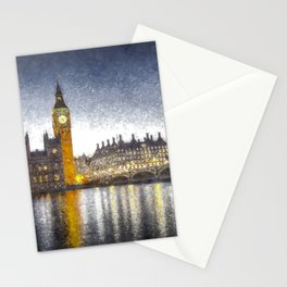 Westminster At Night Snow Stationery Cards