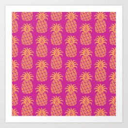 Mid Century Modern Pineapple Pattern Magenta and Orange Art Print