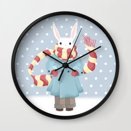 Bunny Brother Out On A Winter Day Wall Clock