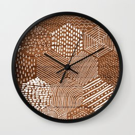 hexagon doodle patterns on wood Wall Clock