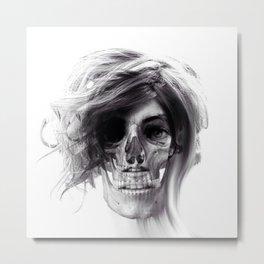 ABSTRACT GIRL SKULL PORTRAIT Metal Print