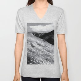 poppy flower field with mountain and cloudy sky background in black and white Unisex V-Neck