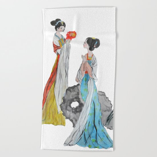 Two ancient Chinese beauties Beach Towel