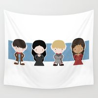 merlin Wall Tapestries featuring Merlin, Morgana, Arthur, Guinevere, Chibi Merlin by carolam