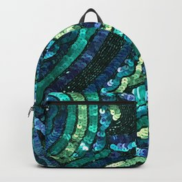Teal Turquoise Black Sequin Backpack