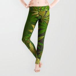 Gold Weed Leaves Leggings
