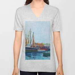 Galilee Fishing Village, Jerusalem, Point Judith, Narragansett, Rhode Island landscape painting Unisex V-Neck