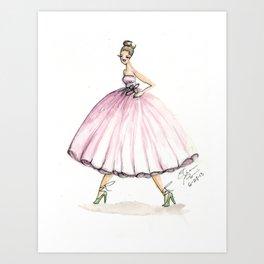 Sweet Pink Dress Watercolor Dress Art Print