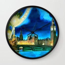 Houses of Parliament and Big Ben at Night Wall Clock