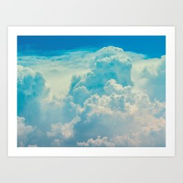 White Cloud In A Blue Sky Heavenly Fluffy Clouds Art Print