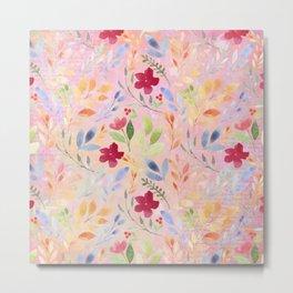 Floral Script Pattern - Pink Carnation Metal Print