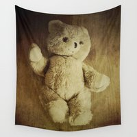 teddy bear Wall Tapestries featuring Old Teddy Bear by Victoria Herrera