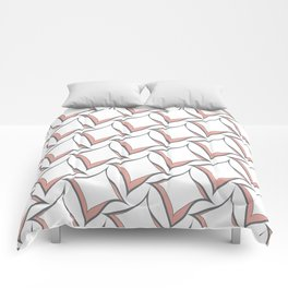Pink and Gray Abstract Squares Comforters