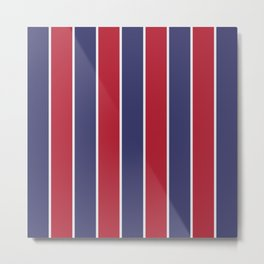 Large Red White and Blue USA Memorial Day Holiday Vertical Cabana Stripes Metal Print