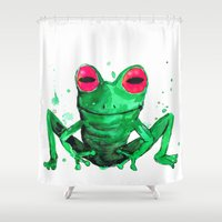 frog Shower Curtains featuring Frog by Bwiselizzy