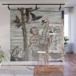 """""""Baby and the Swans"""" by Arthur Rackham Wall Mural"""