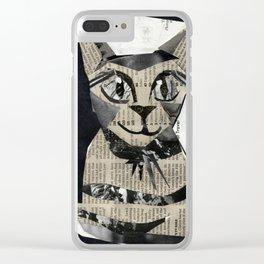 Newspaper Cat Clear iPhone Case