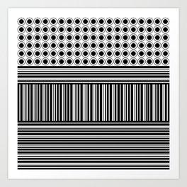Circles and Barcode Art Print